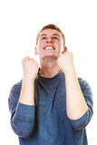 Happy man successful lad with arms up. Success positive emotions. Happy young man successful lad with arms up looking upwards isolated on white background Royalty Free Stock Photos