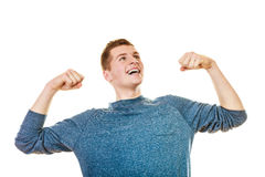 Happy man successful lad with arms up Royalty Free Stock Photo