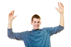 Happy man successful lad with arms up Royalty Free Stock Image