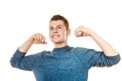 Happy man successful lad with arms up Stock Photos