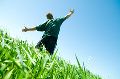 Happy man on the summer field Royalty Free Stock Photos