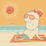 Happy man on summer vacation. Stock Image