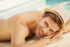 Happy man sunbathing Royalty Free Stock Image