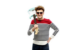Happy man in sunglasses holding guitar Royalty Free Stock Photo
