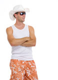 Happy man in sunglasses looking on copy space Stock Image