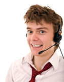 Happy man with support headset. Stock Image