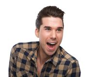 Happy man with surprised expression on face Royalty Free Stock Photos