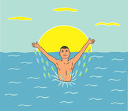 Happy man swimming in sea Stock Photography