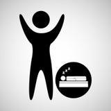 Happy man with symbol sleep dreams icon Stock Image