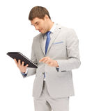 Happy man with tablet pc computer Stock Images