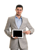 Happy man with tablet pc computer Royalty Free Stock Image