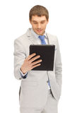 Happy man with tablet pc computer Stock Photography