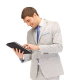 Happy man with tablet pc computer Stock Photos