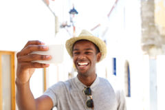 Happy man taking selfie on vacation Royalty Free Stock Photo
