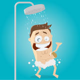 Happy man taking a shower Royalty Free Stock Image