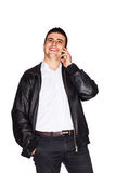 Happy man talking on cell phone Royalty Free Stock Photos