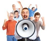 Happy man talking in loud-hailer. Royalty Free Stock Images
