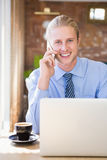 Happy man talking on mobile phone Stock Photos