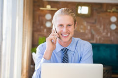 Happy man talking on mobile phone Royalty Free Stock Photography