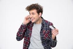Happy man talking on the phone Stock Photo