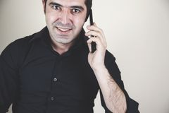 Happy man talking in phone royalty free stock images