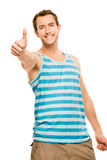 Happy man thumbs up isolated white background Stock Photo