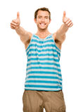 Happy man thumbs up isolated white background Stock Images