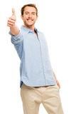 Happy man thumbs up isolated white background Royalty Free Stock Photography