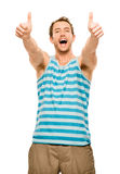 Happy man thumbs up isolated white background Royalty Free Stock Photos