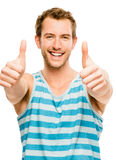 Happy man thumbs up sign closeup portrait isolated on white back Royalty Free Stock Photos