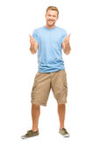 Happy man thumbs up sign full length portrait on white backgroun Stock Photo