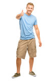 Happy man thumbs up sign full length portrait on white backgroun Royalty Free Stock Photo