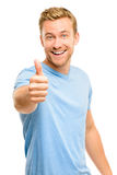 Happy man thumbs up sign full length portrait on white backgroun Stock Photography