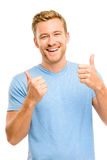 Happy man thumbs up sign full length portrait on white backgroun Stock Image