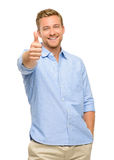 Happy man thumbs up sign portrait on white backgroun Royalty Free Stock Photo