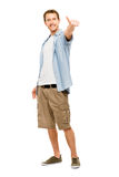 Happy man thumbs up white background Stock Photography