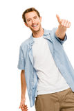 Happy man thumbs up white background Royalty Free Stock Photo