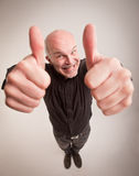Happy man and thumbs up in wideangle Royalty Free Stock Images