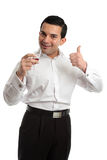 Happy man thumbs up wine Royalty Free Stock Photo