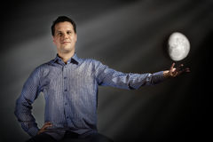 Man touch the moon Royalty Free Stock Photography