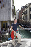 Happy man tourist on the channel background in Venice Royalty Free Stock Photography