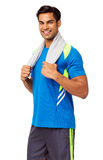 Happy Man With Towel Around Neck Royalty Free Stock Photos