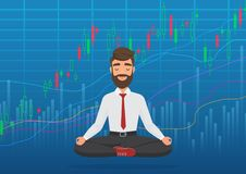 Happy man trader meditating under rising crypto or stock market exchange chart. Business trader, finance stock market royalty free illustration