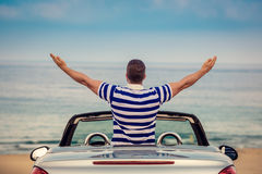 Happy man travel by car Royalty Free Stock Photo