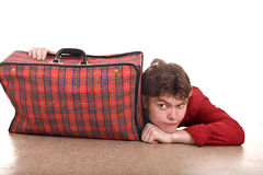 Happy man with travel suitcase . Royalty Free Stock Photography