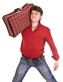 Happy man with travel suitcase . Stock Photo