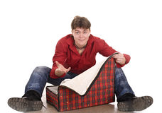 Happy man with travel suitcase . Royalty Free Stock Image
