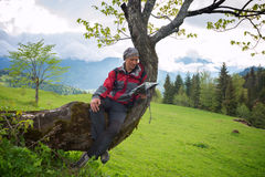 Happy man traveler is resting, sitting on a tree Stock Photos