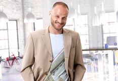 Happy man at trendy office Royalty Free Stock Images