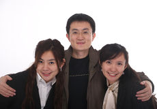 Happy man with two girls Royalty Free Stock Image